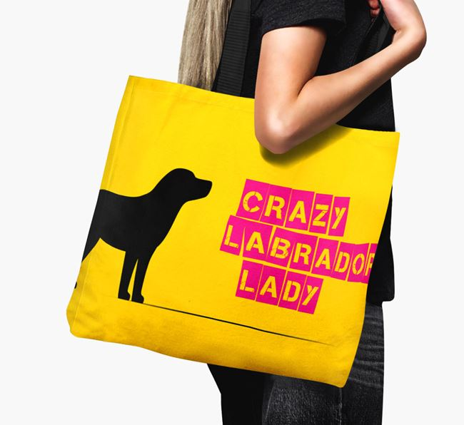 Crazy Labrador Lady Canvas Bag
