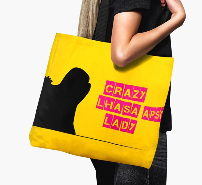 Crazy Lhasa Apso Lady Canvas Bag