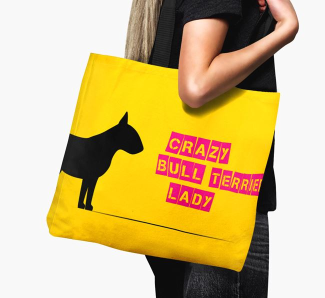 Crazy Bull Terrier Lady Canvas Bag