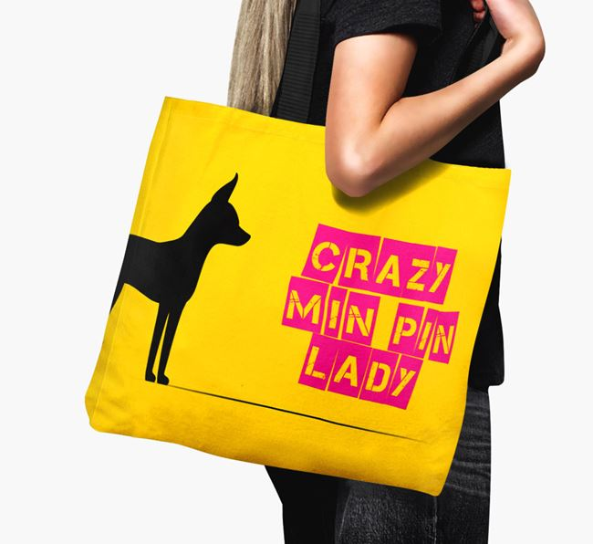 Crazy Min Pin Lady Canvas Bag