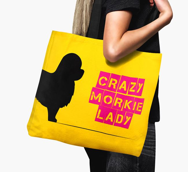 Crazy Morkie Lady Canvas Bag