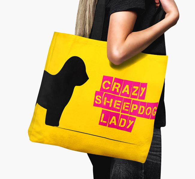 Crazy Sheepdog Lady Canvas Bag