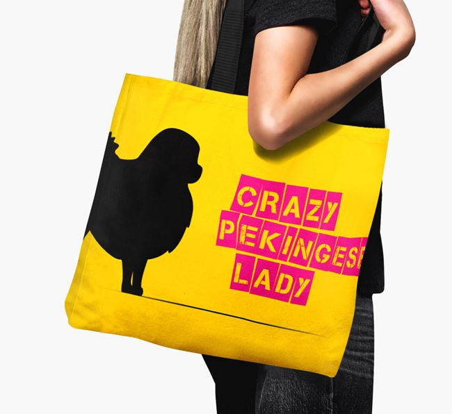 Crazy Pekingese Lady Canvas Bag
