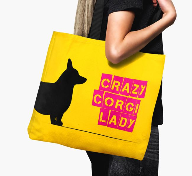 Crazy Corgi Lady Canvas Bag