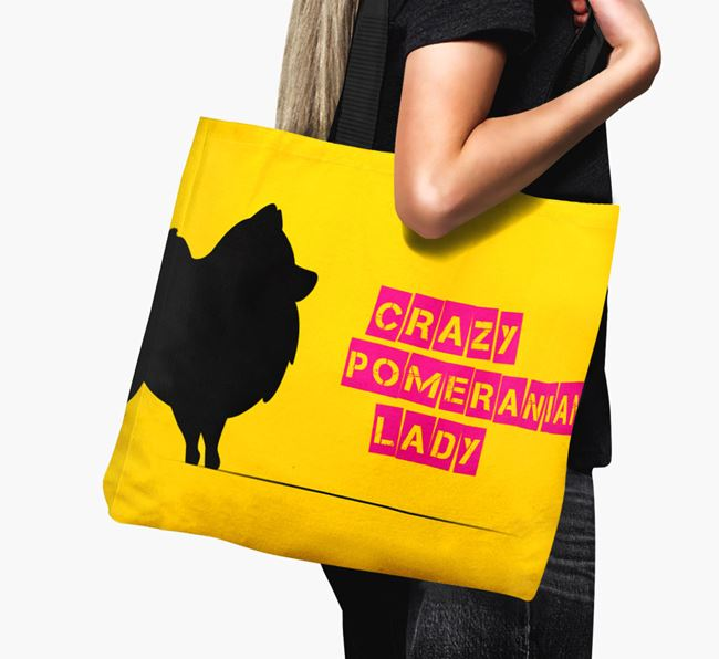 Crazy Pomeranian Lady Canvas Bag