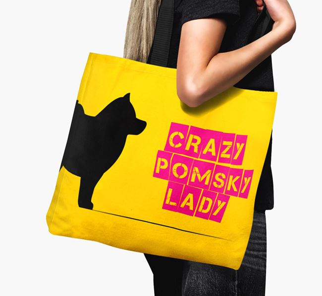 Crazy Pomsky Lady Canvas Bag