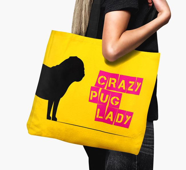 Crazy Pug Lady Canvas Bag