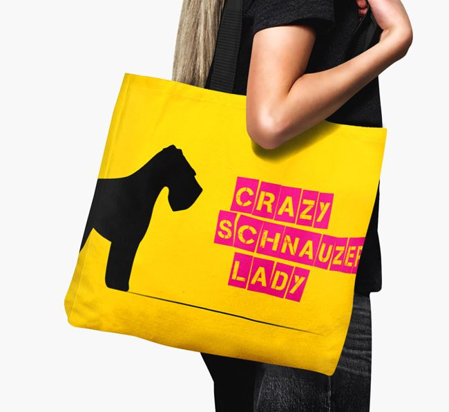 Crazy Schnauzer Lady Canvas Bag