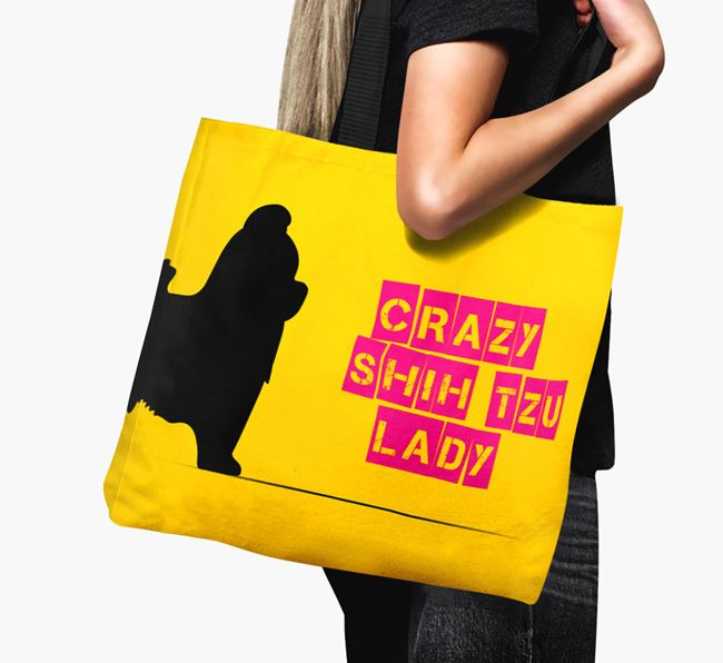 Crazy Shih Tzu Lady Canvas Bag