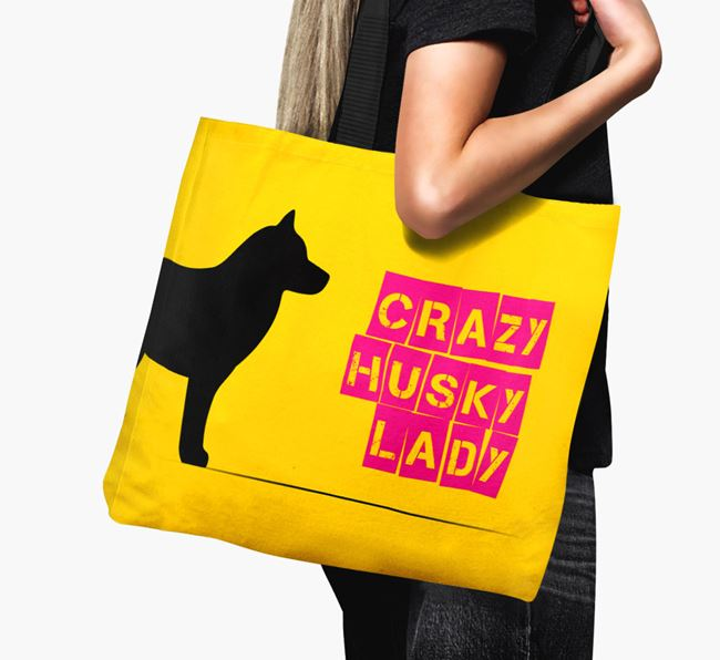 Crazy Husky Lady Canvas Bag