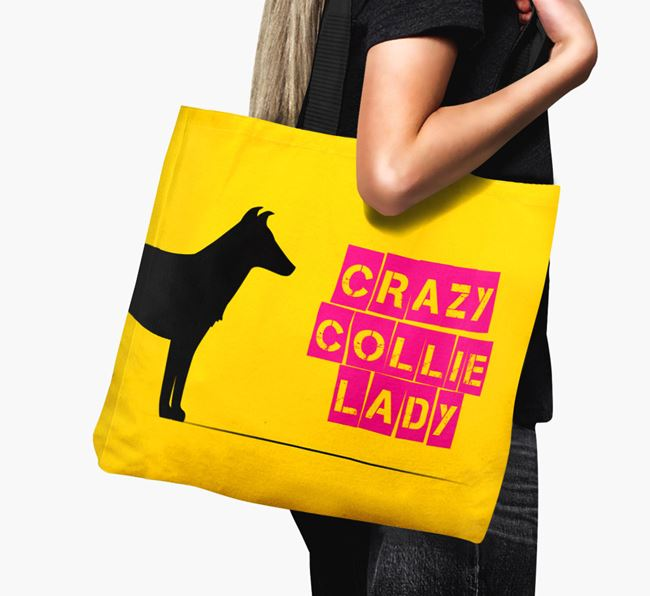 Crazy Collie Lady Canvas Bag