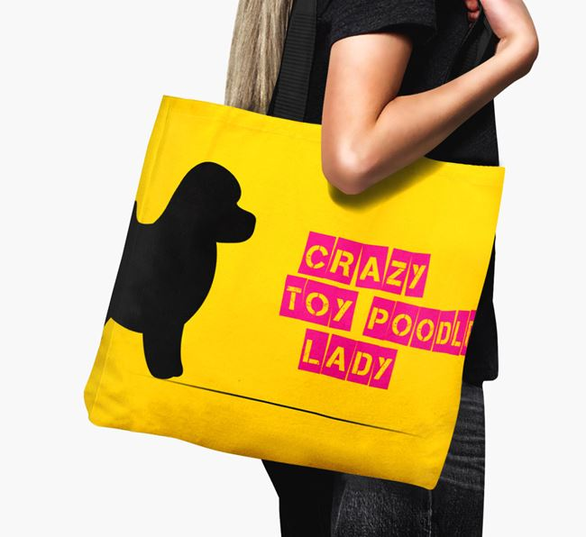 Crazy Toy Poodle Lady Canvas Bag