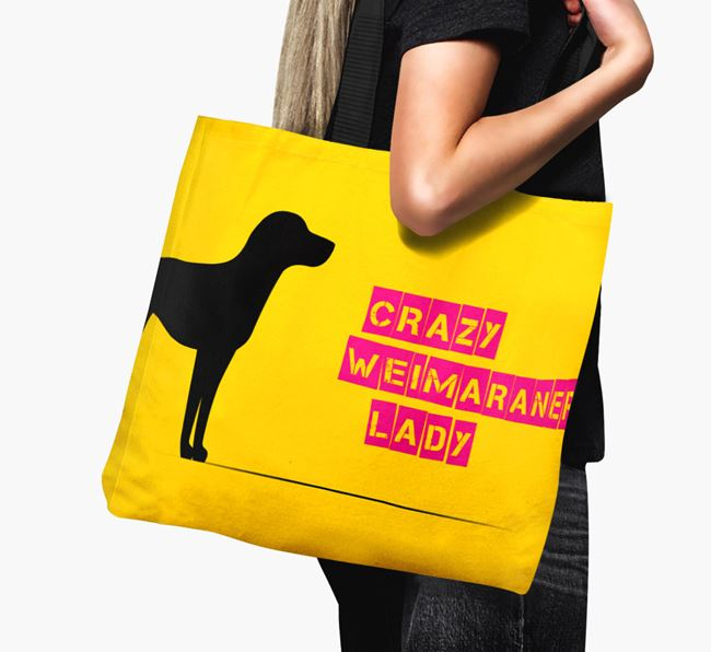 Crazy Weimaraner Lady Canvas Bag