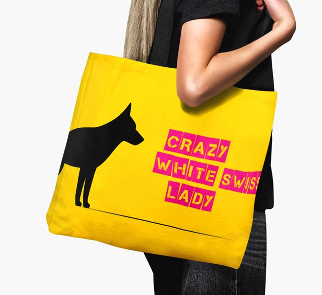 Crazy White Swiss Lady Canvas Bag