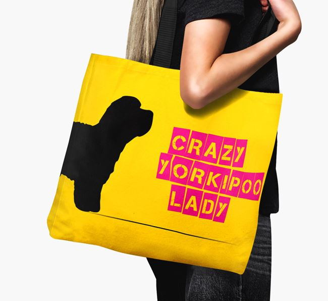 Crazy Yorkipoo Lady Canvas Bag