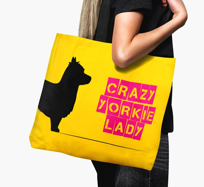 Crazy Yorkie Lady Canvas Bag
