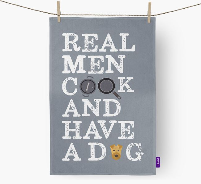 'Real Men Cook And Have A Dog' Tea Towel with Airedale Terrier Icon