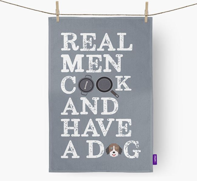 'Real Men Cook And Have A Dog' Tea Towel with Aussiedoodle Icon