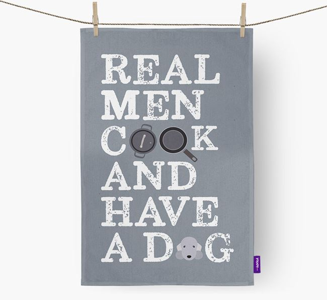 'Real Men Cook And Have A Dog' Tea Towel with Bedlington Terrier Icon