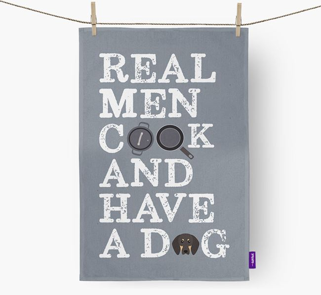 'Real Men Cook And Have A Dog' Tea Towel with Black and Tan Coonhound Icon