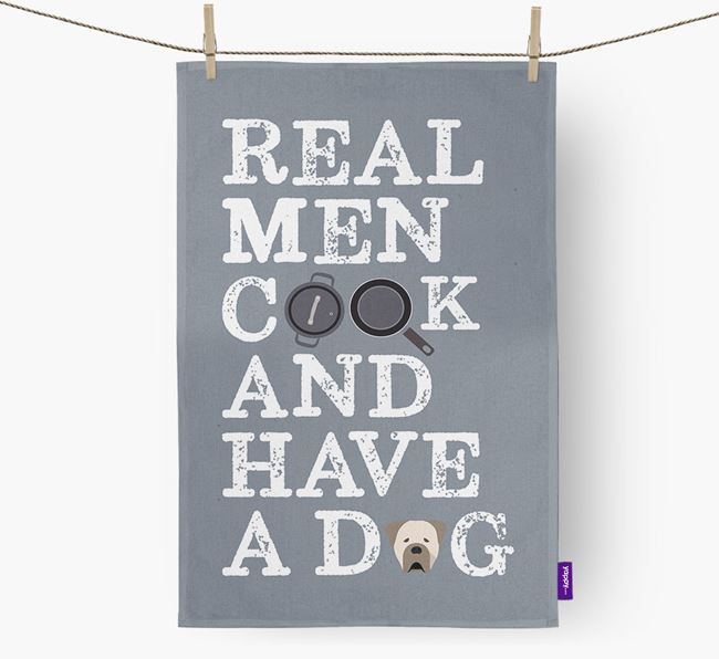 'Real Men Cook And Have A Dog' Dish Towel with Cane Corso Italiano Icon