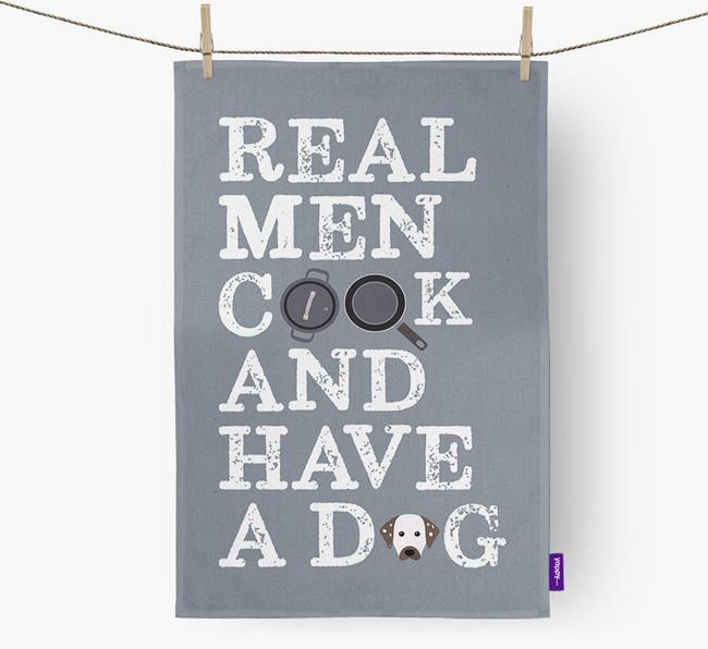 'Real Men Cook And Have A Dog' Tea Towel with Dalmatian Icon