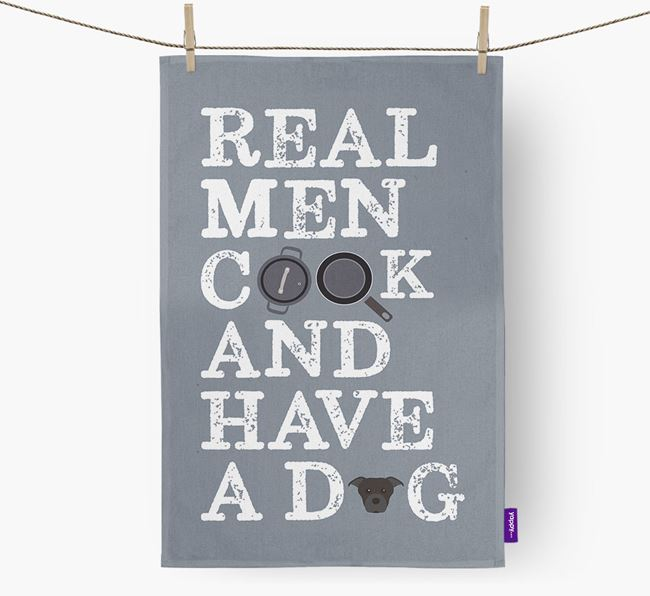 'Real Men Cook And Have A Dog' Dish Towel with Dog Icon