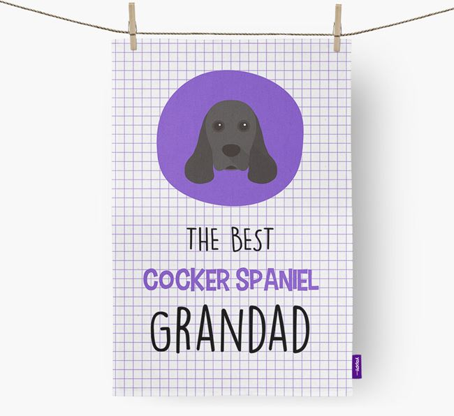 'The Best Grandad' Tea Towel with American Cocker Spaniel Icon