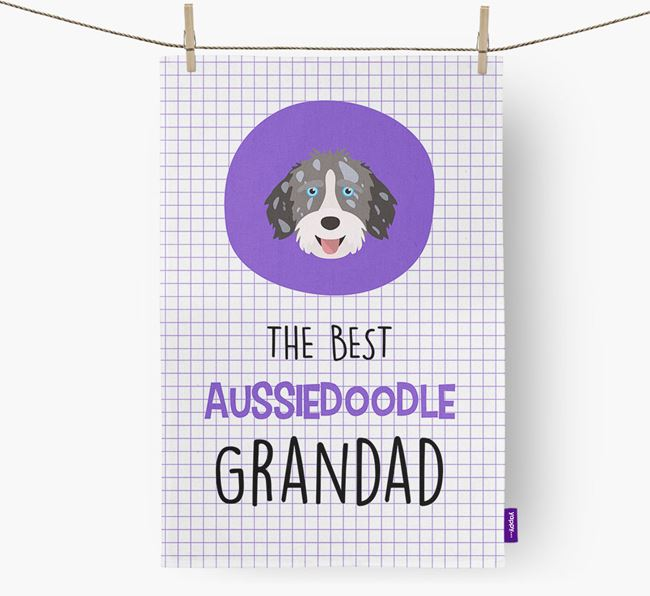 'The Best Grandad' Tea Towel with Aussiedoodle Icon