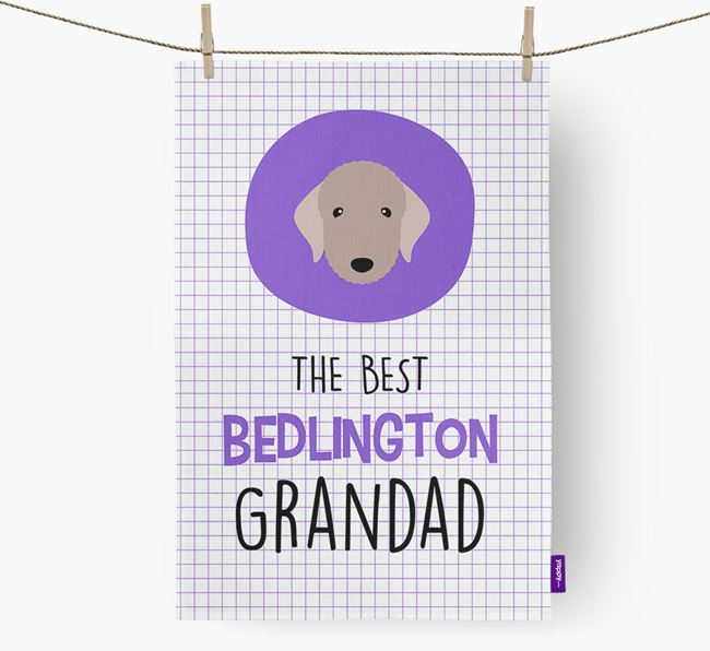 'The Best Grandad' Tea Towel with Bedlington Terrier Icon