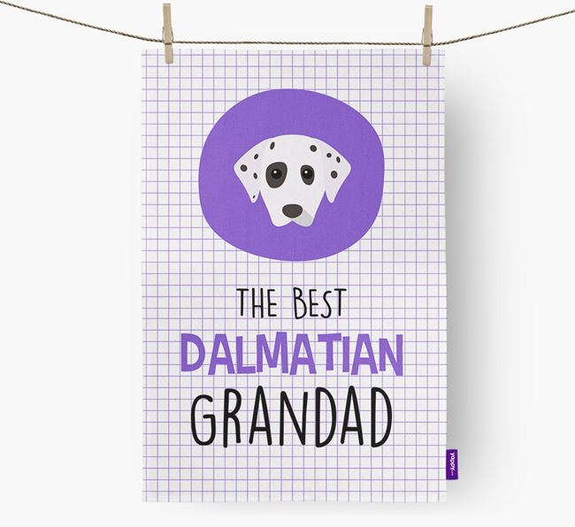 'The Best Grandad' Tea Towel with Dalmatian Icon