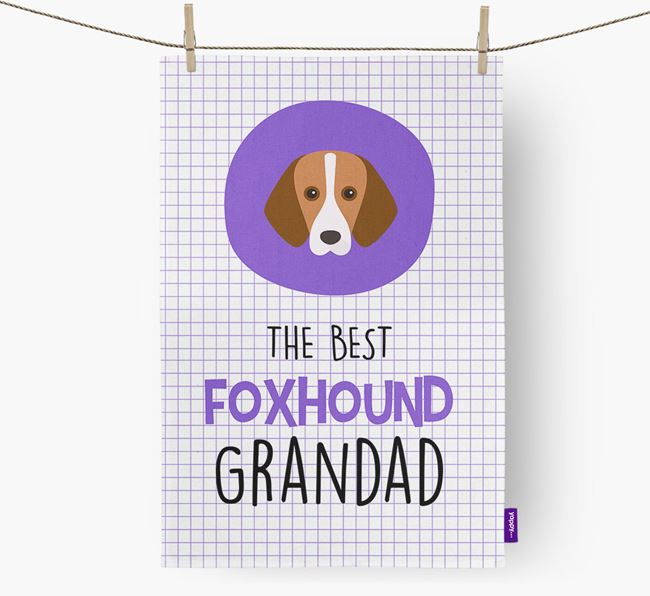 'The Best Grandad' Tea Towel with Foxhound Icon