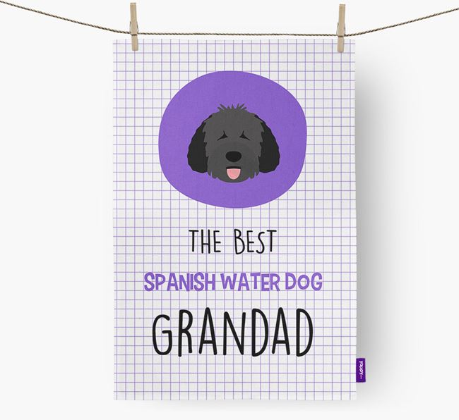'The Best Grandad' Dish Towel with Dog Icon