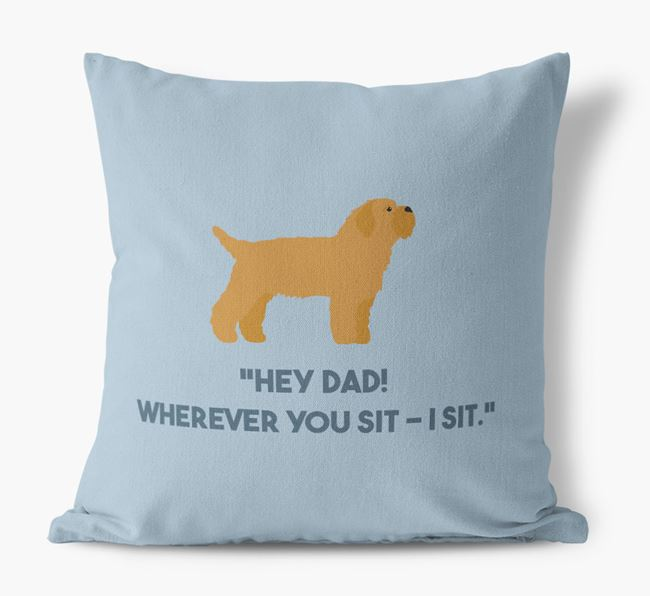 'Dad, where you sit - I sit.' Canvas Cushion with Bichon Yorkie Icons