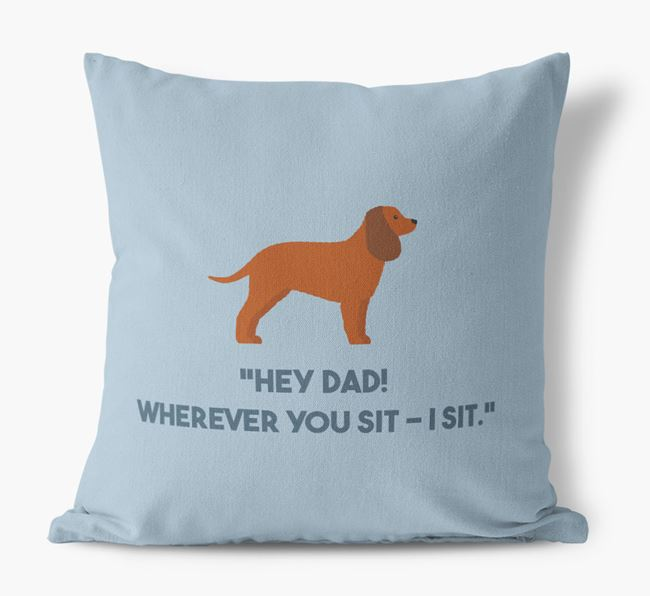 'Dad, where you sit - I sit.' Canvas Cushion with Irish Water Spaniel Icons
