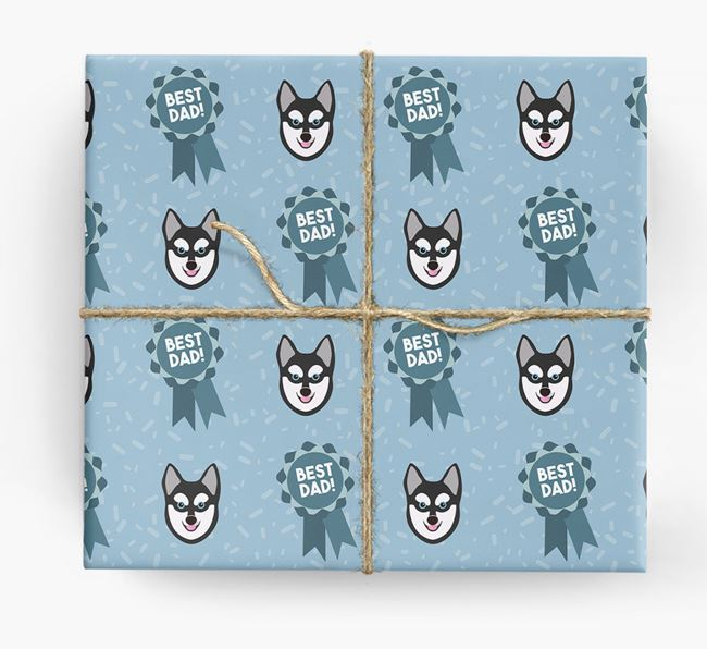 'Best Dad' Ribbon Wrapping Paper with Alaskan Klee Kai Icons