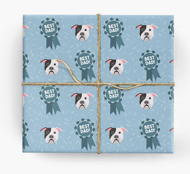'Best Dad' Ribbon Wrapping Paper with American Bulldog Icons