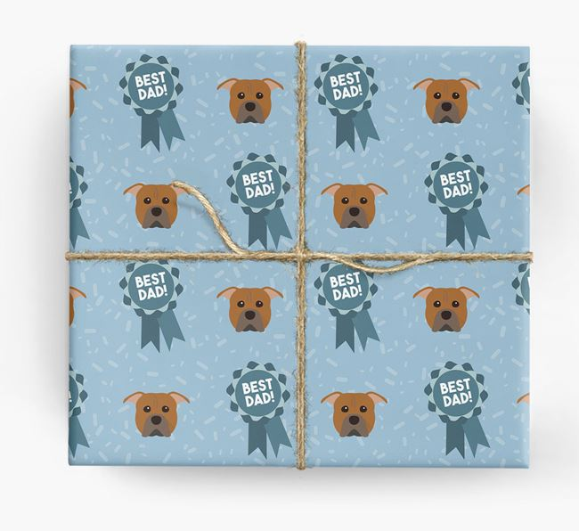 'Best Dad' Ribbon Wrapping Paper with American Pit Bull Terrier Icons
