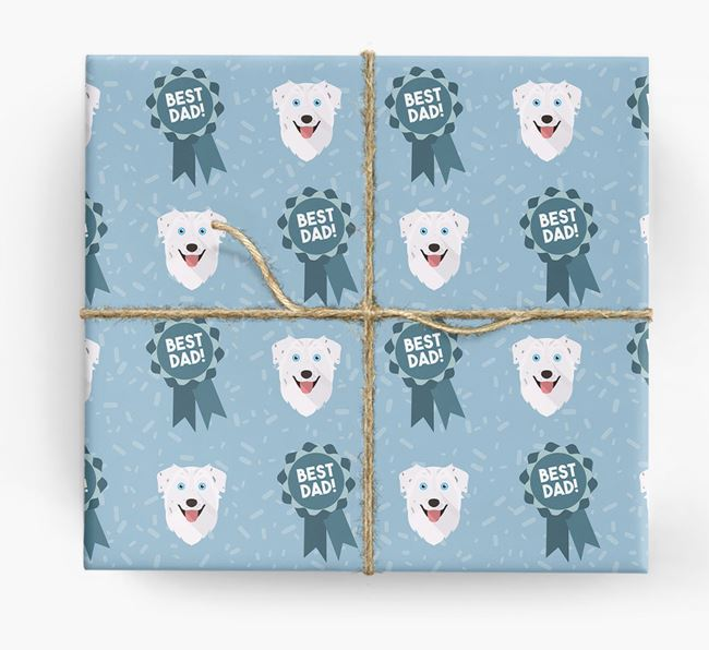 'Best Dad' Ribbon Wrapping Paper with Australian Shepherd Icons