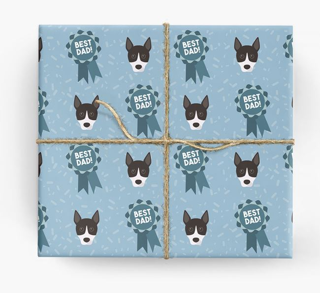 'Best Dad' Ribbon Wrapping Paper with Basenji Icons