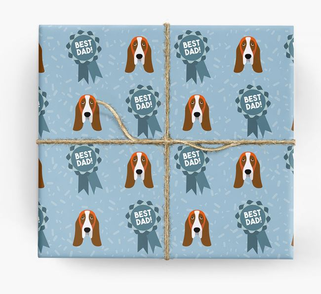 'Best Dad' Ribbon Wrapping Paper with Basset Hound Icons
