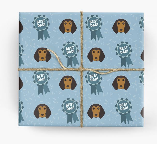 'Best Dad' Ribbon Wrapping Paper with Beagle Icons