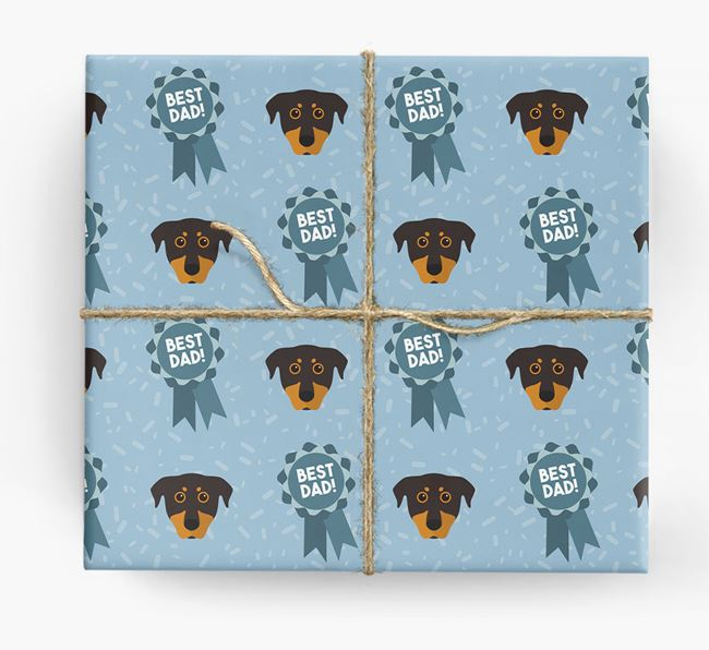 'Best Dad' Ribbon Wrapping Paper with Beauceron Icons