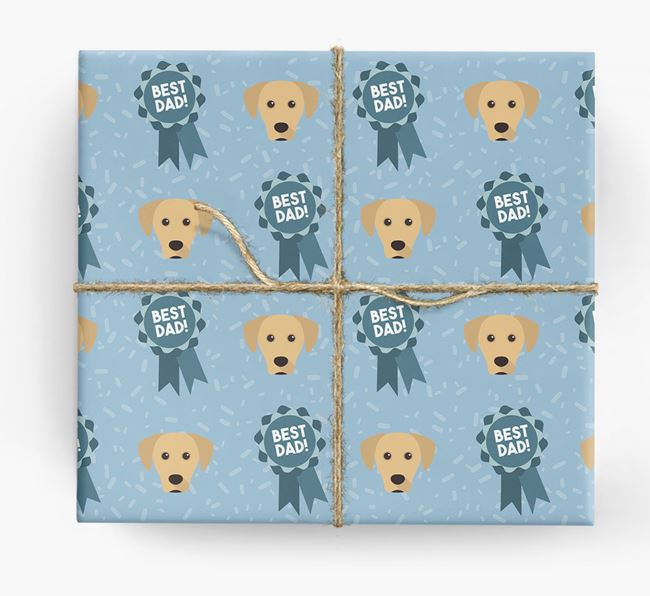 'Best Dad' Ribbon Wrapping Paper with Blue Lacy Icons