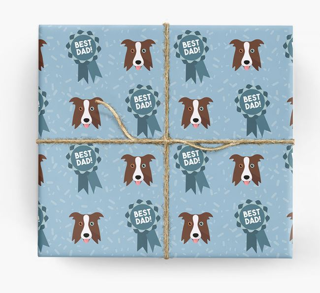 'Best Dad' Ribbon Wrapping Paper with Border Collie Icons