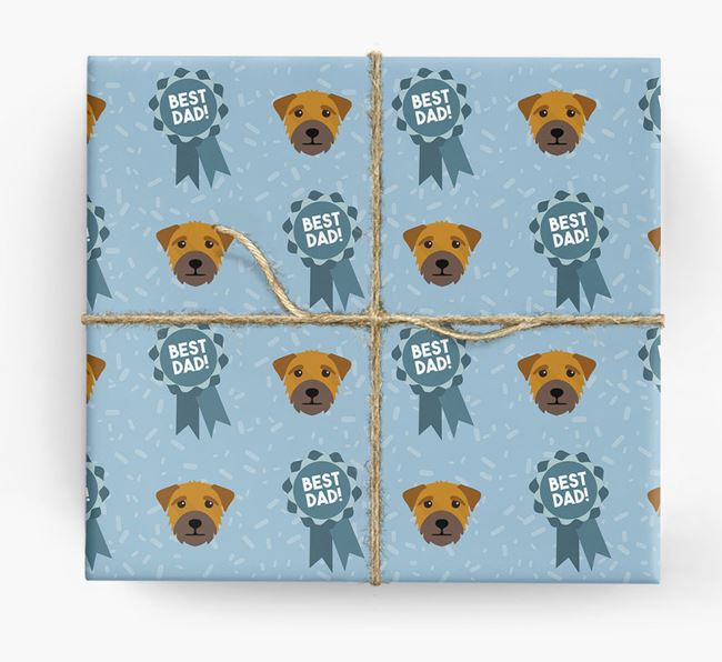 'Best Dad' Ribbon Wrapping Paper with Border Terrier Icons