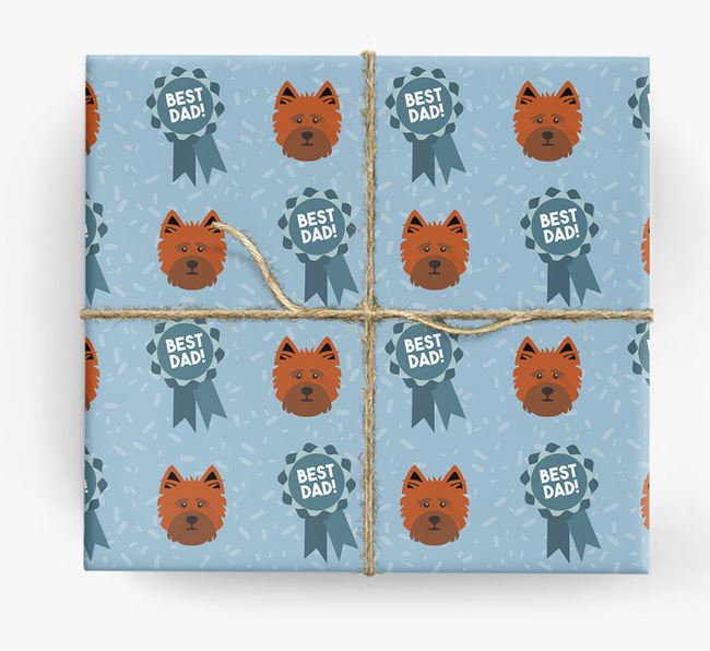 'Best Dad' Ribbon Wrapping Paper with Cairn Terrier Icons