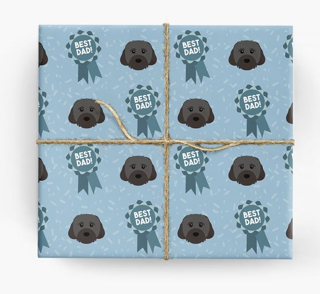 'Best Dad' Ribbon Wrapping Paper with Cavachon Icons