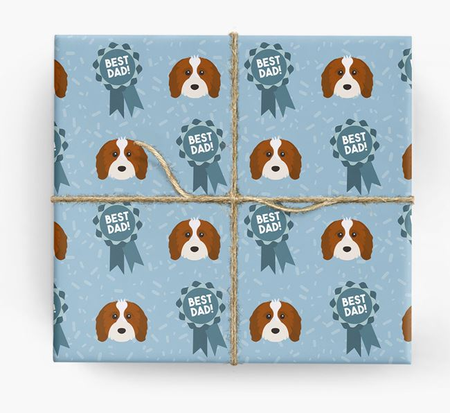 'Best Dad' Ribbon Wrapping Paper with Cavapoo Icons