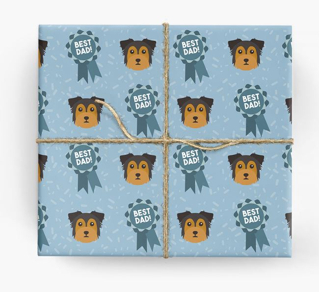 'Best Dad' Ribbon Wrapping Paper with Chorkie Icons